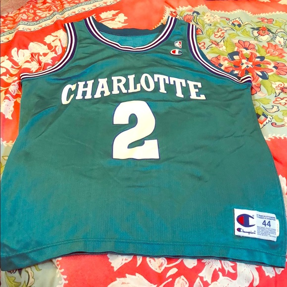 91084c9fe40 Champion Shirts | Vintage Larry Johnson Charlotte Hornets Jersey ...